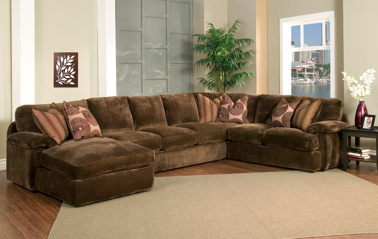 Champion brown fabric 4 peice oversized chaise sectional for Brown sectionals with chaise