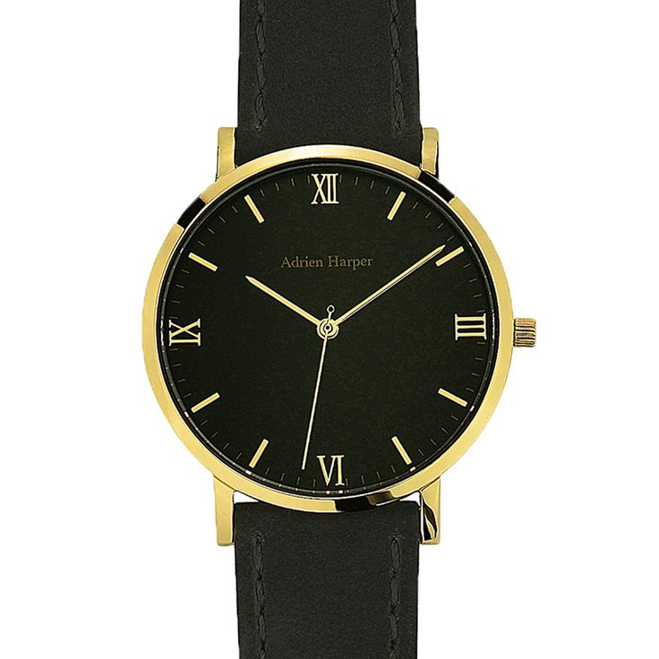 Black gold womens watch with black suede strap