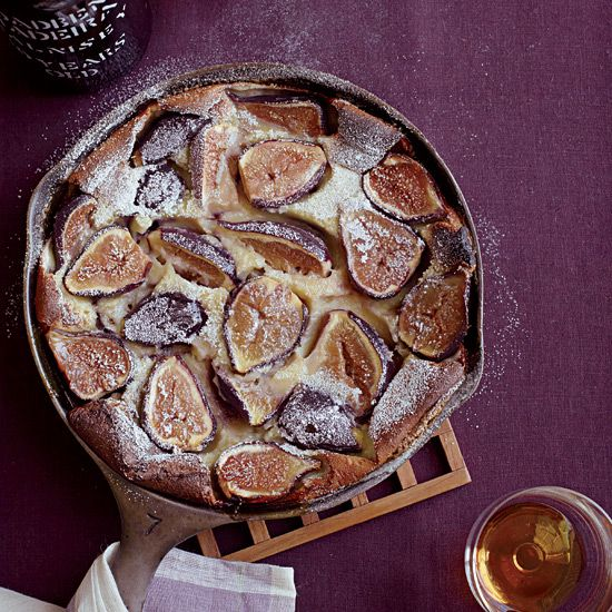 Black Mission Fig Clafoutis | Matthew Accarrino cleverly adds juicy fresh figs to this delicious pancake-like French dessert, then tops it with port-infused whipped cream.