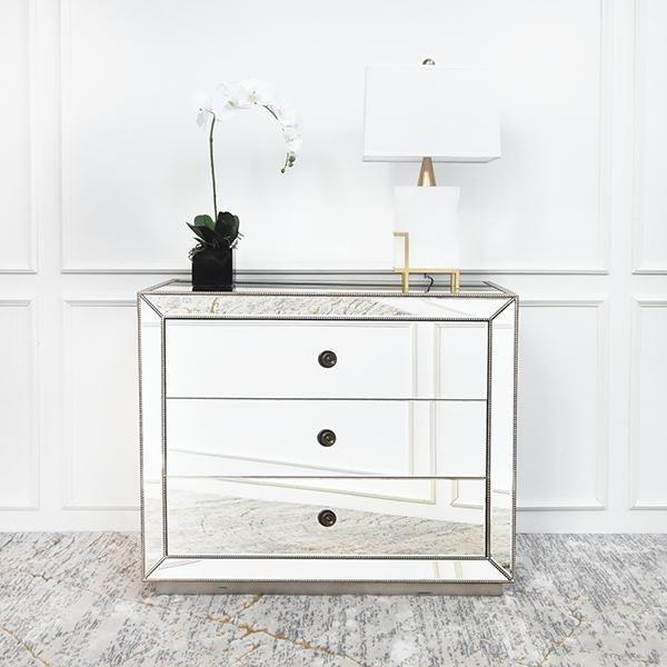 Hermes Mirrored 3 Drawer Dresser Sideboard Mirror Chest Of Drawers Mirrored Furniture Mirrored Nightstand