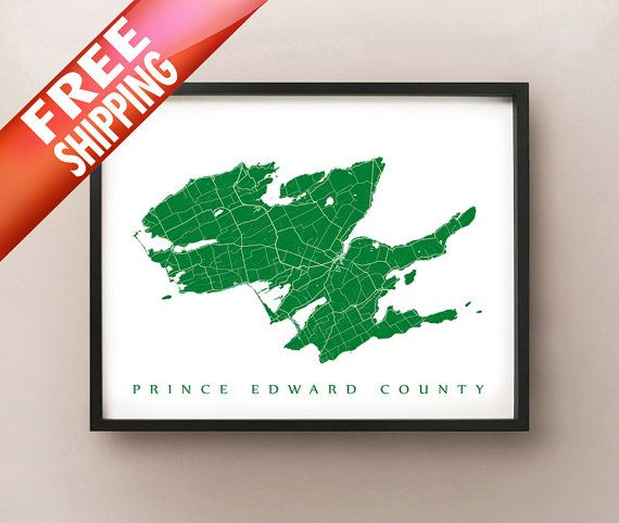 Prince Edward County Map Print by CartoCreative on Etsy