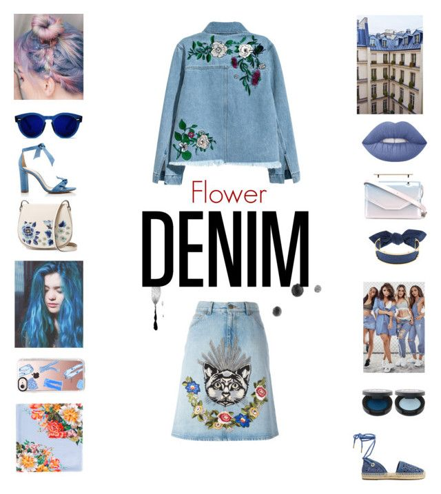 """Flower DENIM"" by annelenelala on Polyvore featuring H&M, Gucci, French Connection, Alexandre Birman, Casetify, Lime Crime, M2Malletier, Monica Sordo and MICHAEL Michael Kors"