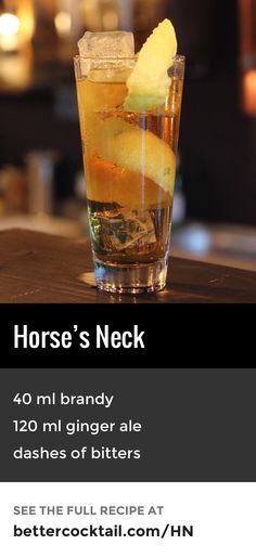 The Horse's Neck cocktail was originally a non-alcoholic beverage consisting of a mixture of ginger ale, ice and lemon peel. By the 1910s, bartenders had started adding brandy to the mix, giving us the cocktail we have today. The drink is identifiable by the long, curling spiral of lemon rind garnish.