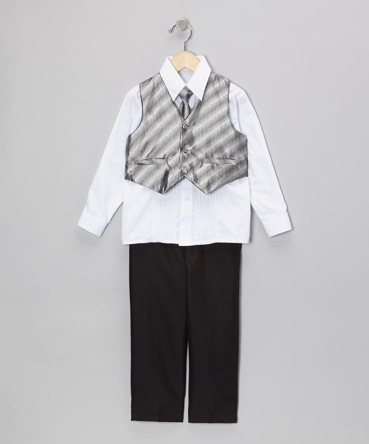 Black & Silver Vest Set - Infant Toddler & Boys