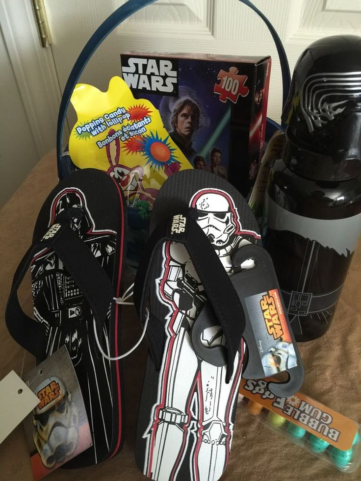 Star Wars Filled Easter Gift Basket Boys Flip Flops Size 13/1 Bottle Container #Unbranded #Easter