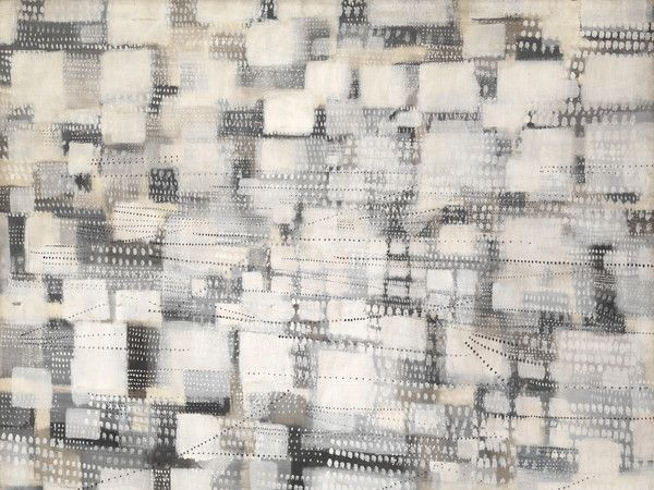 Tancredi Parmeggiani, (Untitled) City, 1954, mixed media on canvas, 195.5 x 178 cm, Mart, Modern and Contemporary Art Museum of Trento and Rovereto |  Collection Domenico Talamoni