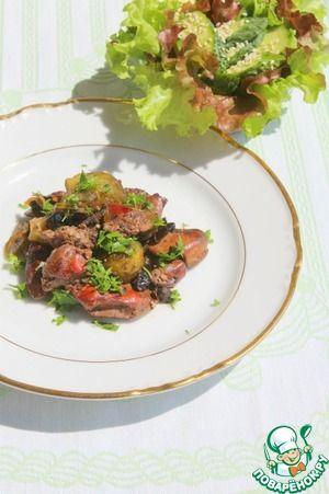 Запеченая куриная печень с хрустящим салатом