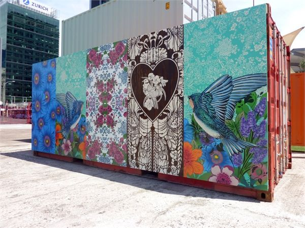 Conversations In Mind Exhibition Queens Wharf Auckland - Shipping Container Mural Artwork from Flox. See more at http://watermarkltd.com/
