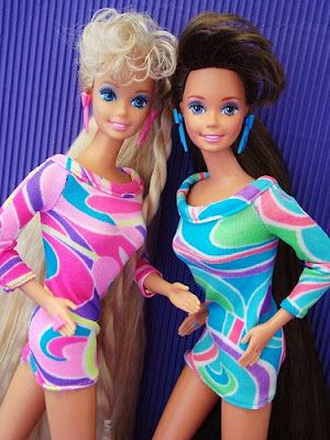 Totally Hair Barbie and Teresa dolls 1990s. -- MULLETS. They had very long mullets.