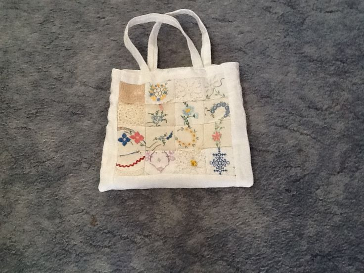 Bag made with recycled doilies