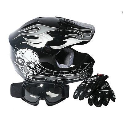 DOT Youth Kids ATV Motocross Dirt Bike Black Skull Helmet w/Goggles+Gloves S M L