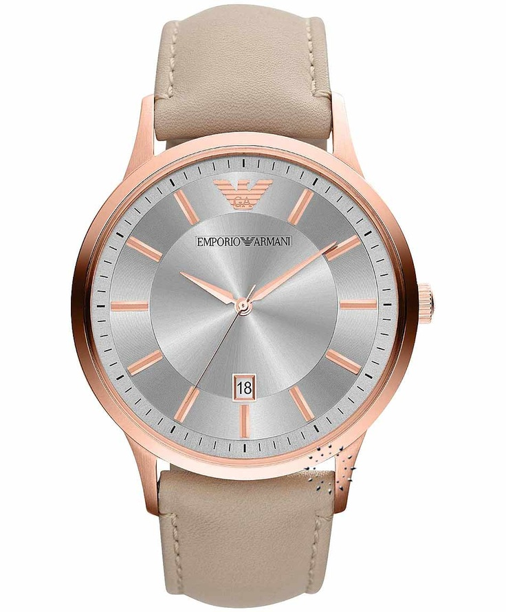 Emporio Armani Classic Beige Leather Strap, 275€ http://www.oroloi.gr/product_info.php?products_id=33554