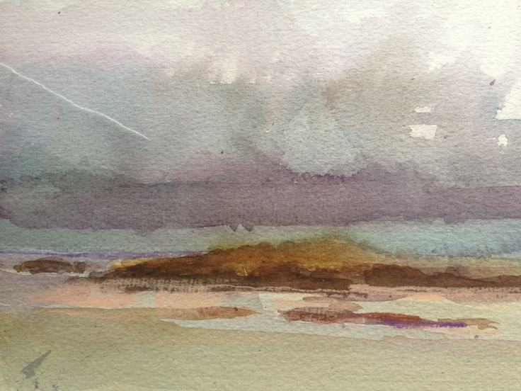 Sanna Bay. Inclement Weather. A5 Watercolour and Pastel.