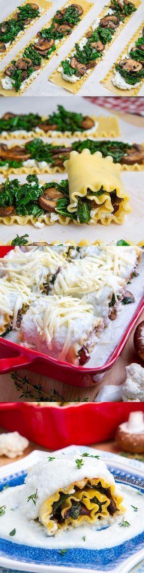 Mushroom and Kale Lasagna Roll Ups in Creamy Gorgonzola Cauliflower Sauce Más