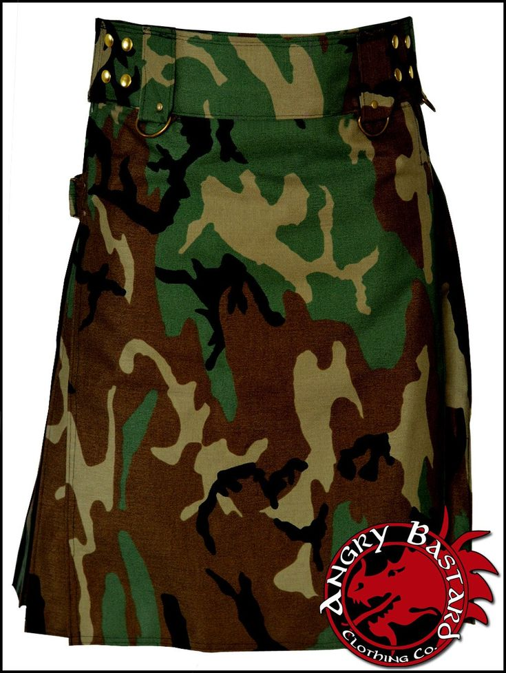 "Angry Bastard's Vintage Woodland Green Camo Tactical Kilt. Features: Heavy Duty Cordura Rip-Stop Fabric 3"" Waistband with Heavy Duty Belt Loops & D-Ring Har"