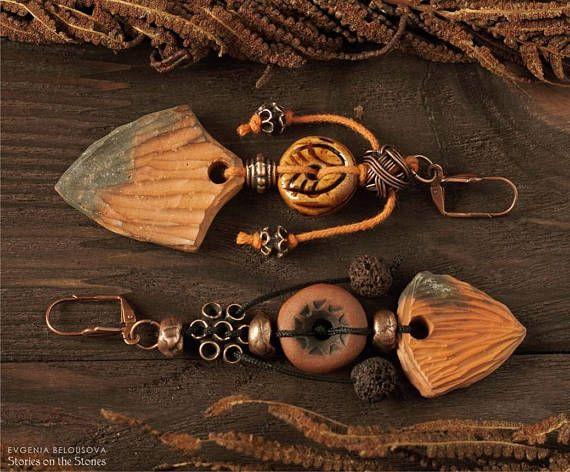 Arrow earrings Asymmetrical earrings Prehistoric natural