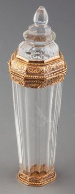A Louis Philippe 18K Gold Mounted Rock Crystal Scent Bottle, circa 1840 Marks: (French guarantee mark) 3-1/4 in