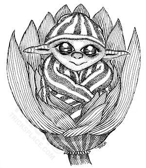Pajama Flower Elf. Artwork by 'Trick. Visit TricksPlace.com