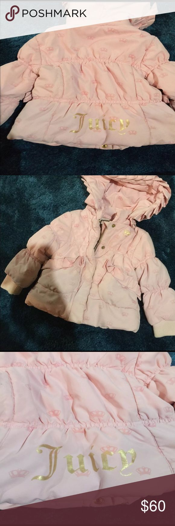 Infant-toddler Juicy Couture Jacket-Coat Size 18 Months  Juicy couture  Pink with juicy logo on back and removable hood Juicy Couture Jackets & Coats