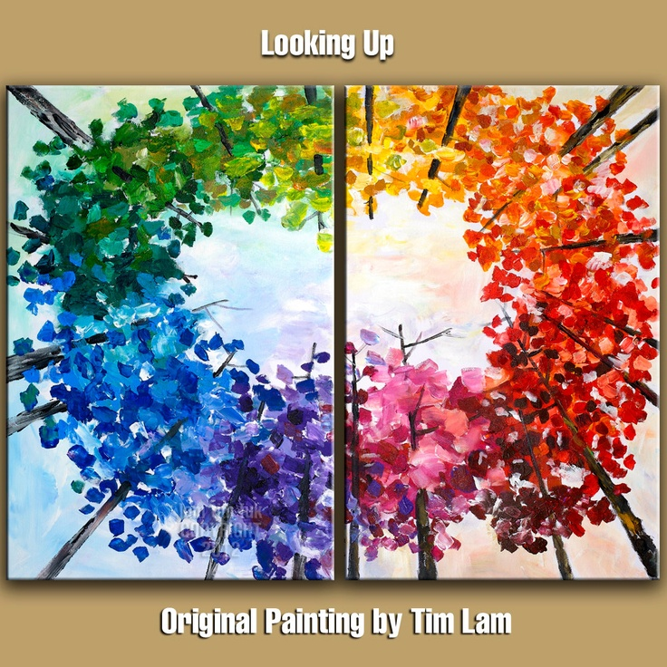 """Original Large modern impasto textured tree art abstract painting acrylic painting 48"""" Autumn landscape painting gallery canvas by tim lam.  1)paint sky -color wheel tints 2) double load brush paint trunks and few branches leave some as broken lines 3) paint leaves color wheel plus tints impressionistic style with flat brush"""