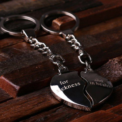 Personalized Polish Steel Key Chain – Double Heart #Personalized polished stainless steel key chain. Also available with a wood box. #ad