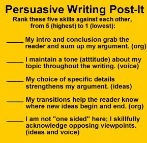 Print Persuasive Writing Checklists on Post Its. ((Post Its, Sticky Notes, English Language Arts, Writing, Revising, Grammar, Asessment)