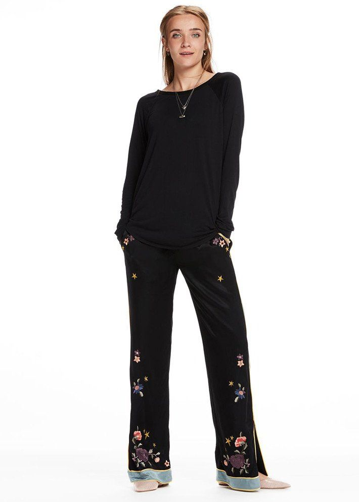 Bukser sorte 102013 Embroidered Chinoiserie Trousers