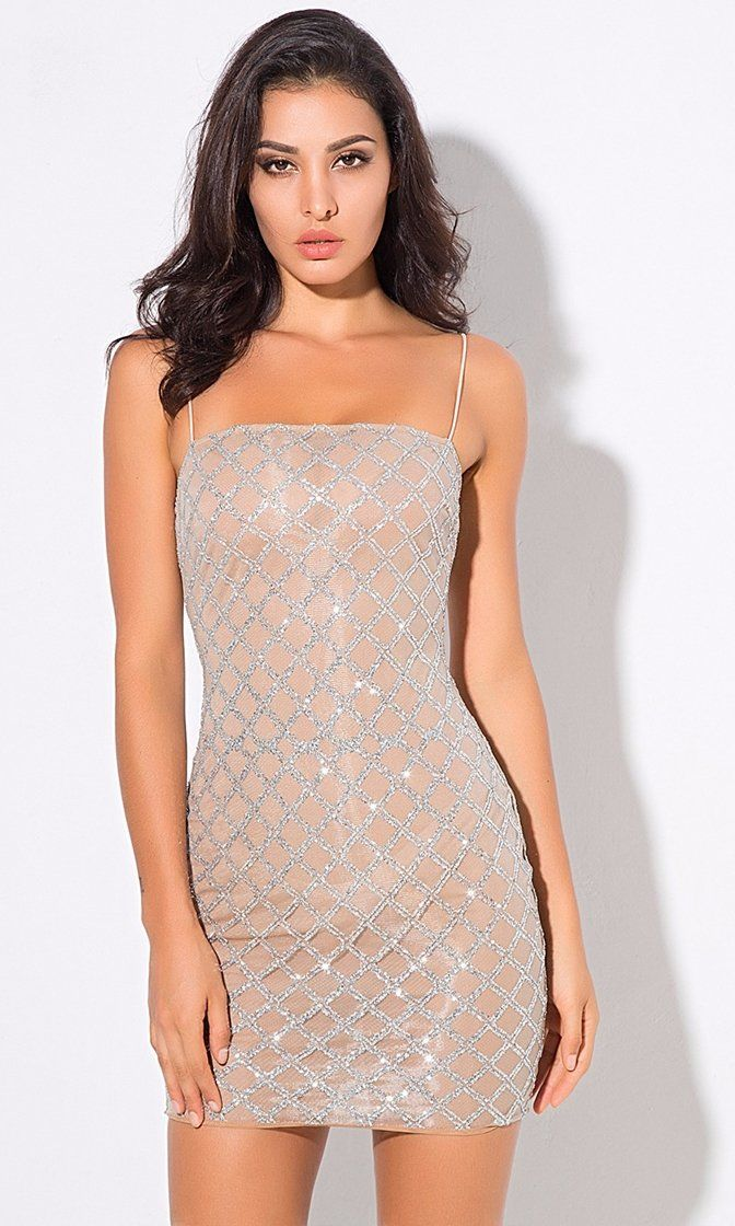 c9555354 Glamorous Life Nude Silver Diamond Geometric Lattice Glitter Sleeveless  Spaghetti Strap Bodycon Mini Dress