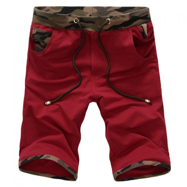 Stylish Lace-Up Hit Color Camo Splicing Slimming Straight Leg Men's Cotton Shorts