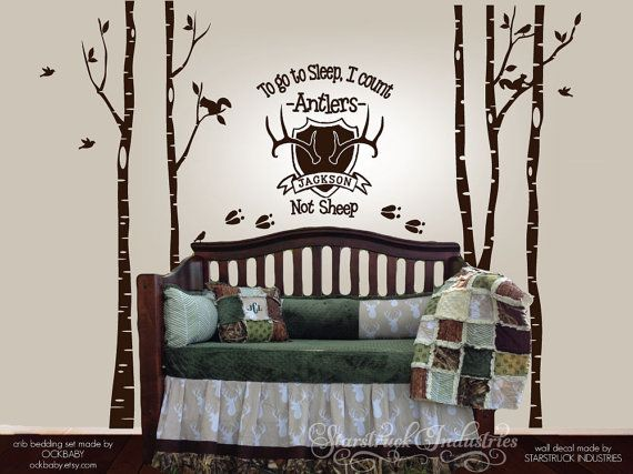 To Go To Sleep I Count Antlers Not Sheep - Personalized Wall Decal with Birch Trees - Rustic Woodsy Hunting Theme Nursery Decor Wall Sticker