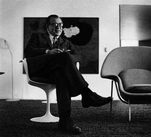 A great portrait of Eero Saarinen and his chairs, circa 1958.  From the Aline Saarinen collection.