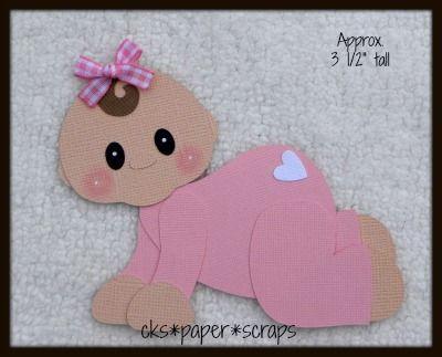 Crawling Baby Girl KID Scrapbook Paper Piecing