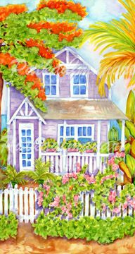 cottages and beach living paintings Bougainvillea Lane I