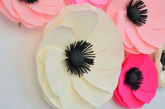 6 Giant Paper Flowers/Large Paper Poppies/Wedding Decoration/Arch Flowers/ Table Flower Decoration/Pink Poppies/ Wall Flowers