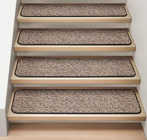 Best Set Of 12 Attachable Carpet Stair Treads Black Ripple 640 x 480
