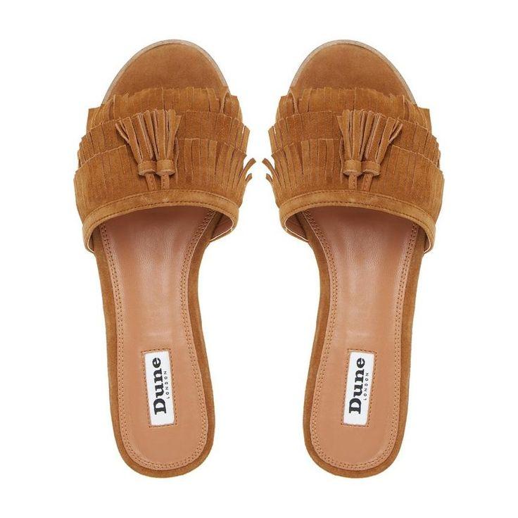 Lassi fringe detail flat mule sandal tan dune london