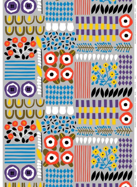 Akankaali heavyweight cotton (grey, violet, yellow) | Fabrics, Cottons | Marimekko