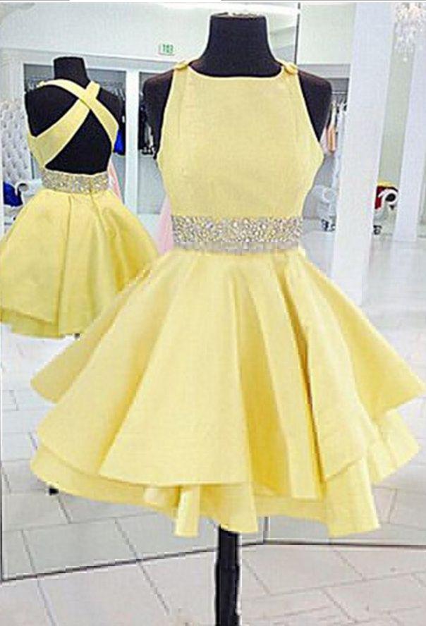 Yellow Short Prom Dresses, Backless Satin Homecoming Dresses,Beaded Homecoming Dresses