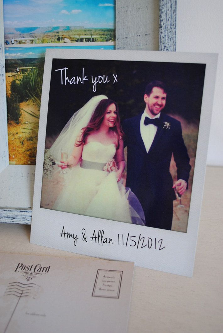 wedding custom thank you cards%0A Personalised Polaroid Wedding Thank You Cards   Personalised Polaroid Save  the Date Cards by MartyMcColgan on