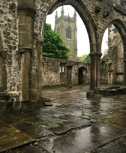 Heptonstall's original church was named after St Thomas a Becket, founded circa 1260, and was altered and added to over several centuries. It was damaged by a gale in 1847 (and is now only a shell), so a new church, St Thomas the Apostle, was built in the same churchyard. This suffered a lighting strike in 1875.  The old church ruin is now carefully maintained and occasionally open air services are conducted there.