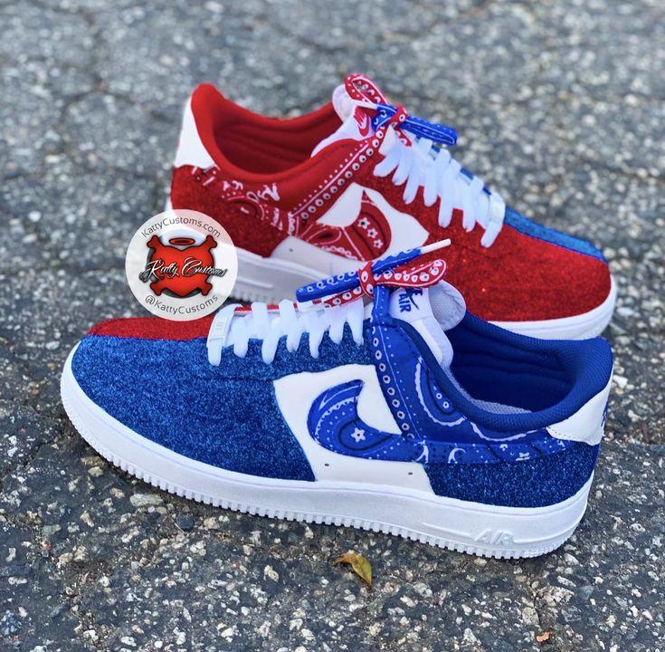 """Custom Nike Air Force One """"Blue & Red"""" Bandana + Glitter"""