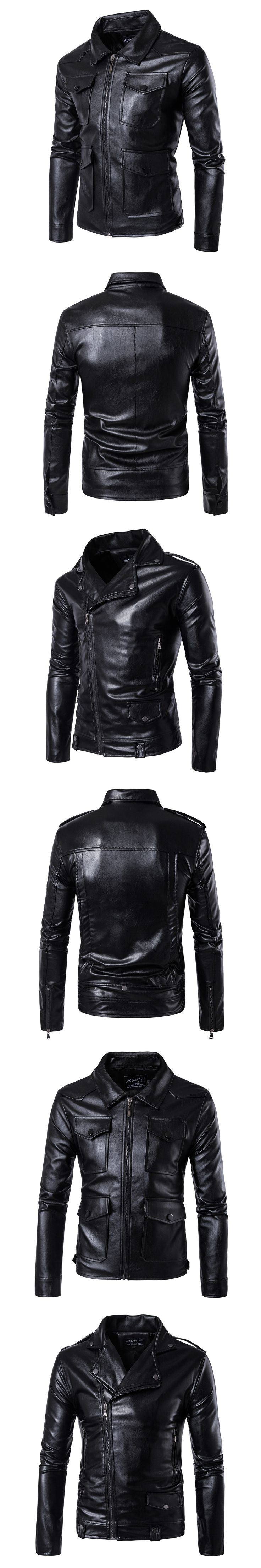 autumn winter new hot sale brand men's faux leather jackets fashion slim fit man black turndown collar young men PU leather coat
