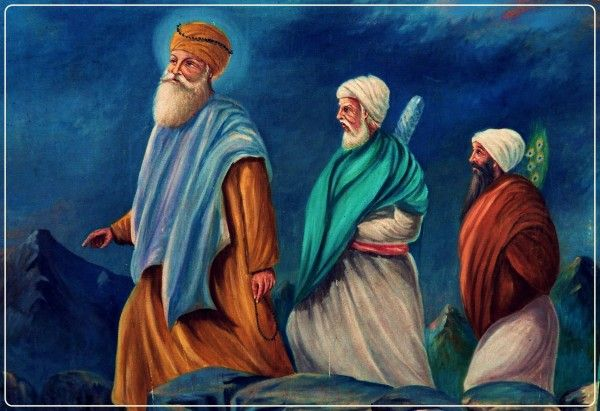 A very rare Tanjore-style painting (Tanjore Oviyam) from the late 19th century, depicting the ten Sikh Gurus with Guru Nanak Dev in the center and Bhai Bala and Bhai Mardana.Guru Nanak Dev Ji ਗੁਰੂ ਨਾਨਕ (15. April 1469 - 22. September 1539), also called Rai Bhoe-ki Talwandi - was the founder of Sikh religion and the first of the ten Gurus of the Sikhs.