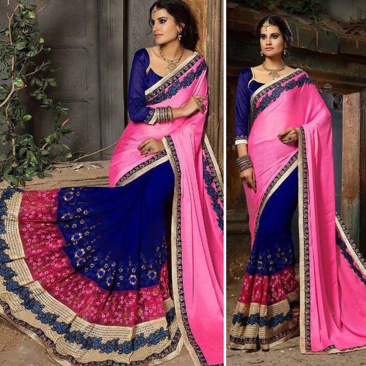 Wedding Party Wear Indian Punjabi Asian EID Designer Sari Bollywood Saree Blouse #Handmade #SareeSari