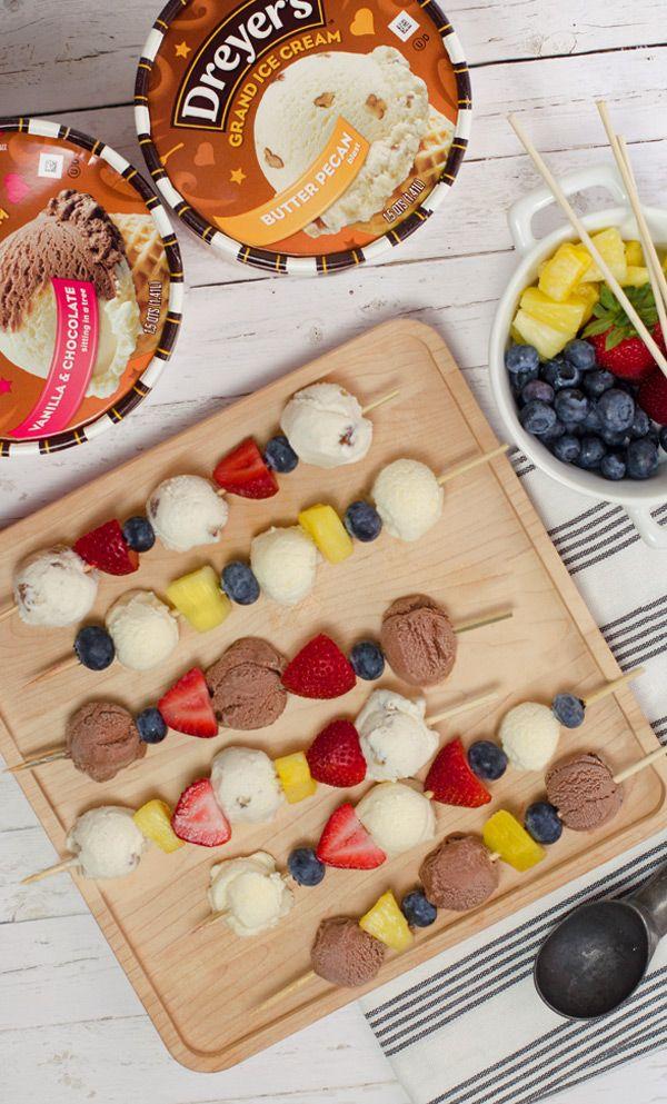 BROCHETAS DE HELADO Y FRUTAS (Ice Cream Kebab) #RecetasDivertidas #PostresParaNiños