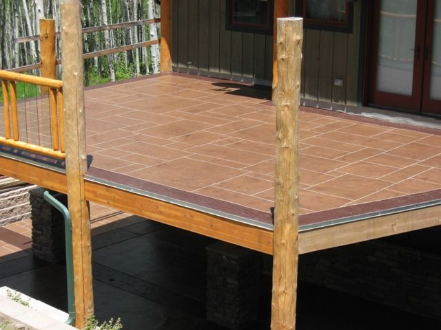 Cement patio elevated waterproof concrete decking for Concrete floor upstairs