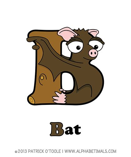 Bat - Alphabetimals make learning the ABC's easier and more fun! http://www.alphabetimals.com