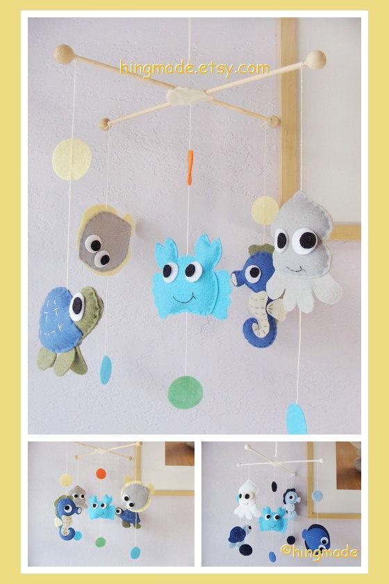 Under the Sea Mobile - Baby Crib Mobile - Nursery Mobile - Handmade Hanging Mobile - Polka Dot Go Fish Ocean theme(Custom color available)