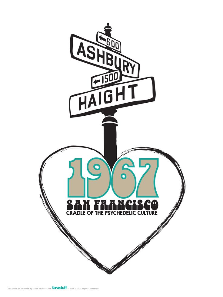 ASHBURY & HAIGHT, SAN FRANCISCO  1967 - CRADLE OF THE PSYCHEDELIC CULTURE - Cool print from farvestuff Denmark