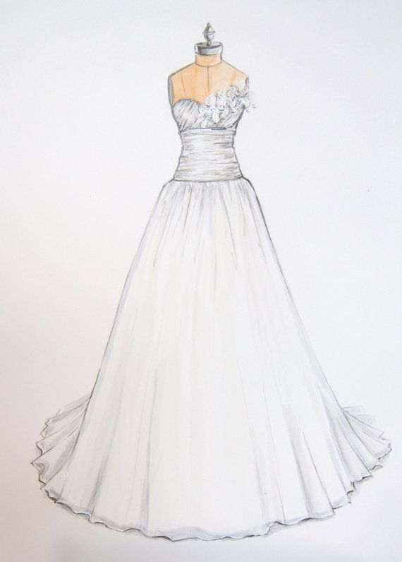 64 best images about custom wedding illustration sketch for How to draw a wedding dress